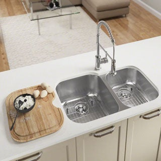 MR Direct 503 Offset Double Bowl Stainless Steel Sink