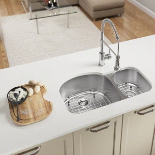 MR Direct 501 Offset Double Bowl Stainless Steel Kitchen Sink