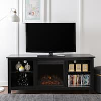 Black TV Stand with Electric Fireplace