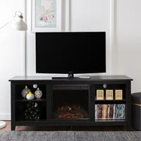 TV Stand with Electric Fireplace in Black