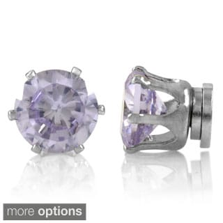 Round-cut Cubic Zirconia Lavender Magnetic Earrings