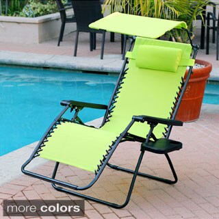 Oversized Zero Gravity Chair with Sunshade and Drink Tray