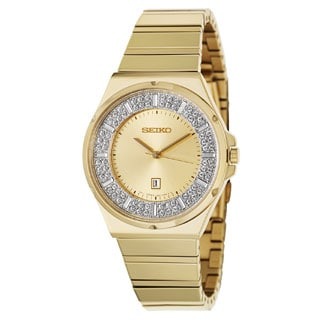Seiko Women's SXDF72 Gold Tone Crystal Stainless Steel Watch