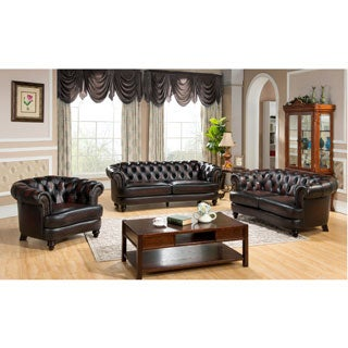 Moore Tufted Brown Chesterfield Top Grain Leather Sofa Loveseat and Chair
