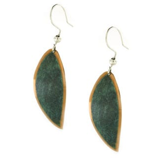 Handmade Copper with Patina Leaf Dangle Earrings (Mexico)