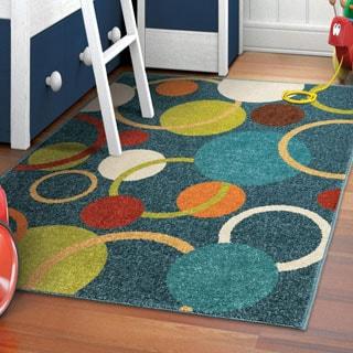 Carolina Weavers Playroom Collection Rainbow Circle Blue Area Rug (3'10 x 5'2)