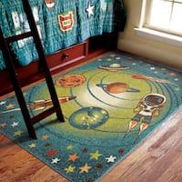 "Carolina Weavers Playroom Collection Island Universe Blue Area Rug - 5'2"" x 7'6"""