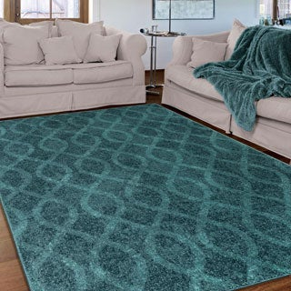 Melodic Collection Tour de Loops Aqua Olefin Area Rug