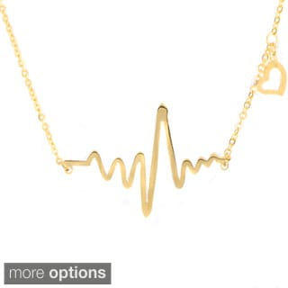 Goldtone Heartbeat Charm Necklace