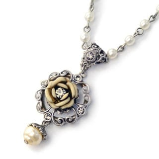 Sweet Romance Shabby Ivory Enamel Rose and Pearl Silver Necklace