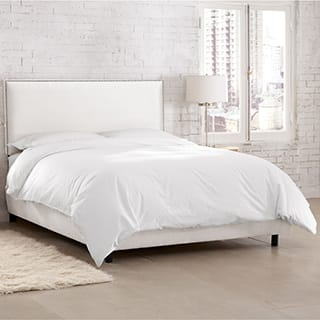 Skyline Furniture Burling Nailhead Trim White Micro-suede Bed|https://ak1.ostkcdn.com/images/products/P16743373L.jpg?impolicy=medium