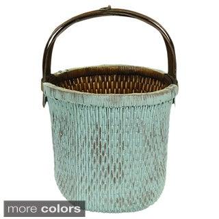 Franklin Handwoven Aqua Wicker Vegetable Basket