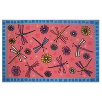 Dragonfly Pink Nylon Accent Area Rug - 3'2 x 4'8