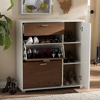 Baxton Studio Chateau Storage Shoe Black Cabinet
