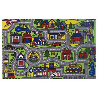 Driving Time Green Nylon Accent Rug (1'6 x 2'4)