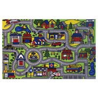 "Driving Time Green Nylon Accent Rug - 1'6"" x 2'4"""