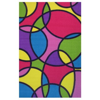 """Round and Round Multi-colored Accent Rug (4'3 x 6'5) - 4'3"""" x 6'5"""""""