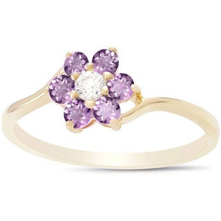 Dolce Giavonna Sterling Silver Gemstone Flower Ring (More options available)