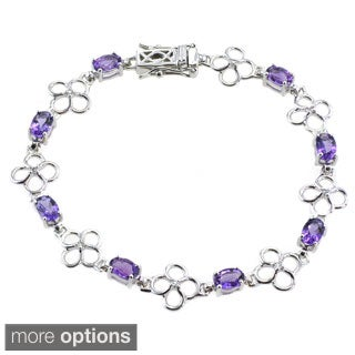 De Buman Sterling Silver Natural Amethyst or Multi-colored Gemstones with White Topaz Bracelet