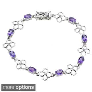 De Buman Sterling Silver Natural Amethyst or Multi-colored Gemstones with White Topaz Bracelet|https://ak1.ostkcdn.com/images/products/P16762289.jpg?impolicy=medium