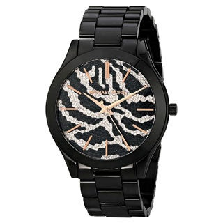 Michael Kors Women's MK3316 Slim Runway Black Zebra Dial Watch