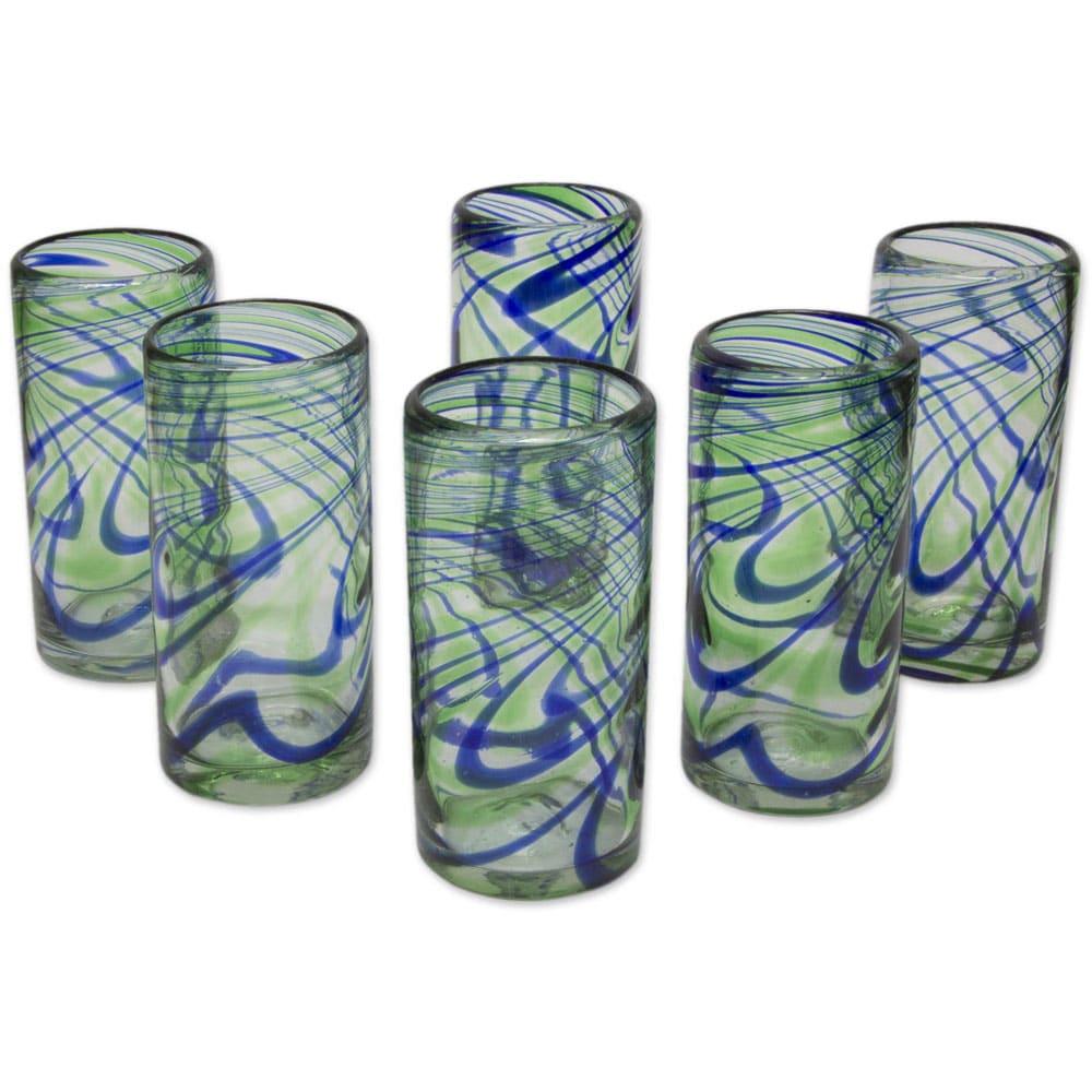 Handmade Set of 6 Blown Glass 'Elegant Energy' Highball Glasses (Mexico)