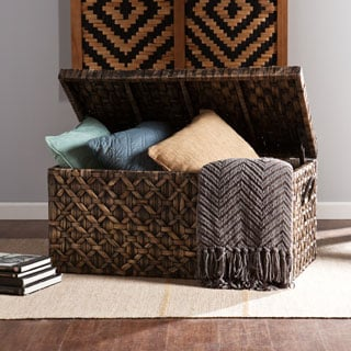 Harper Blvd Blackwashed Water Hyacinth Storage Trunk