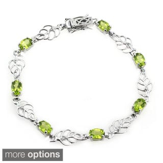 De Buman Sterling Silver Natural Peridot or Multi-colored Gemstones with White Topaz Bracelet