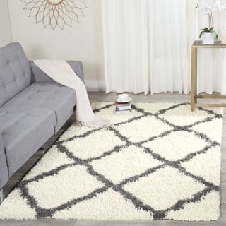 Safavieh Dallas Shag Ivory/ Dark Grey Trellis Rug (5'1 x 7'6)