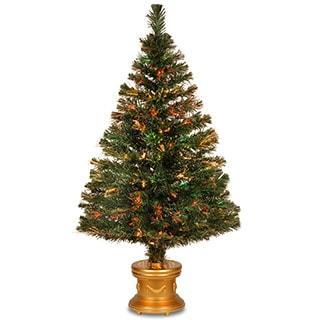 48-inch Fiber Optic Evergreen Firework Tree with Gold Base