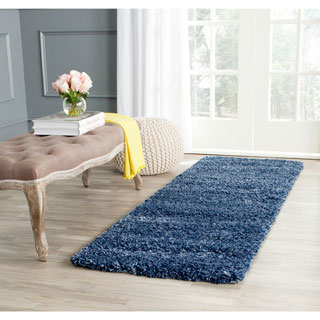 Safavieh California Cozy Solid Navy Shag Rug (2'3 x 9')