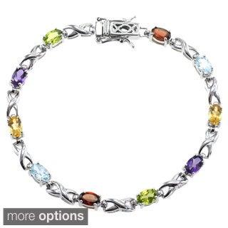 De Buman Sterling Silver Natural Amethyst or Multi-colored Gemstones Bracelet