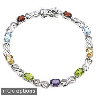 De Buman Sterling Silver Natural Peridot or Multi-colored Gemstones Bracelet
