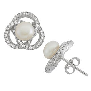 Gioelli Sterling Silver Freshwater Pearl Love Knot Stud Earrings