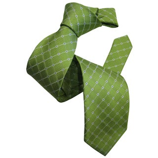 Dmitry Men's Green Patterned Italian Silk Tie
