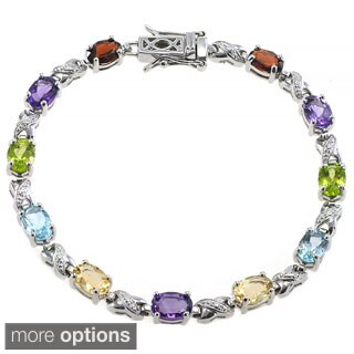 De Buman Sterling Silver Natural Peridot or Multi-colored Gemstones Bracelet