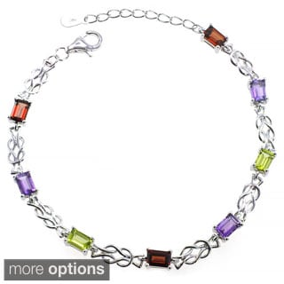 De Buman Sterling Silver Natural Garnet, Peridot or Multi-colored Gemstones Bracelet