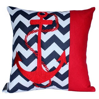 Decorative Cotton Throw Pillow Cover with Anchor Embroidery