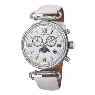 Akribos XXIV Women's Swiss Quartz Chronograph Leather Silver-Tone Strap Watch with FREE GIFT