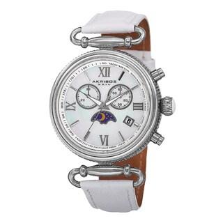 Akribos XXIV Women's Swiss Quartz Chronograph Leather Silver-Tone Strap Watch