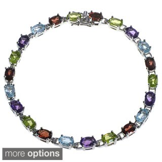 De Buman Sterling Silver Natural Garnet, Peridot, Amethyst or Multi-colored Gemstones Bracelet