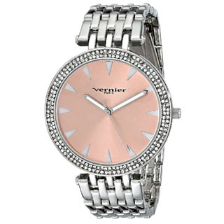 Vernier Paris Women's 7 Link Crystal Bezel Silvertone Bracelet Watch