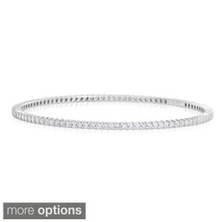 Eloquence 14k White Gold 3ct TWD Eternity Diamond Bangle Bracelet (H-I, I1-I2)