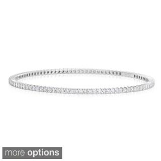 Eloquence 14k White Gold 3ct TWD Eternity Diamond Bangle Bracelet