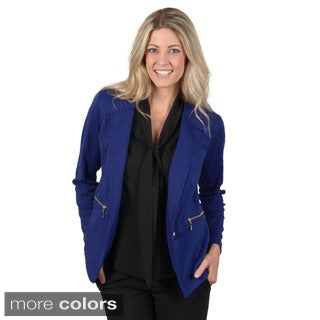 Timeless Comfort by Journee Women's Textured Zipper Pocket Detail Blazer
