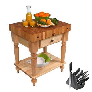 John Boos Cucina 30 x 24 Kitchen Work Table CUCR04-SHF and Henckels 13-piece Knife Block Set
