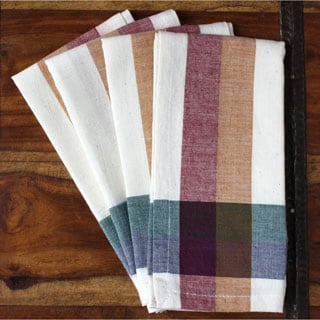 Handmade Orchard Cotton Plaid Napkins (India)