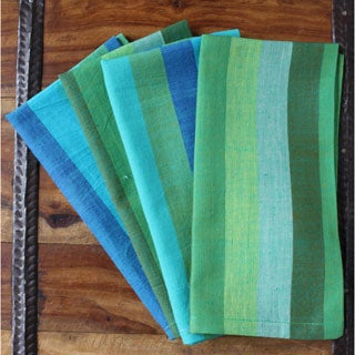 Handmade Set of 4 Sandra Colorblock Napkins (India)