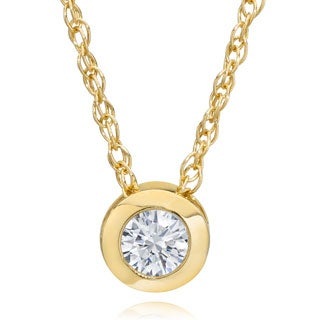 14k Yellow Gold 1/4ct Diamond Bezel-set Pendant Necklace
