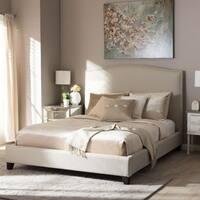 Baxton Studio Aisling Light Beige Linen Modern Platform Bed